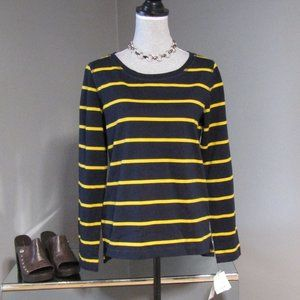 NWT Liz Claiborne Navy Blue & Yellow Striped Top